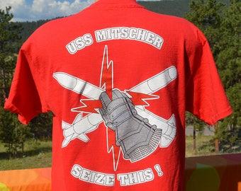 vintage 90s t-shirt uss MITSCHER navy ship seize the day war tee Large Medium history
