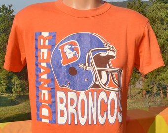 vintage 80s t-shirt denver BRONCOS football helmet nfl tee shirt Large Medium soft thin