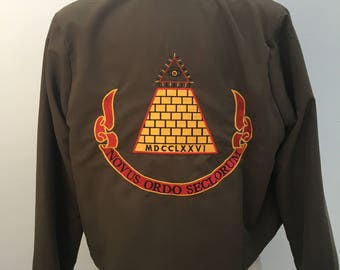 Desperately Seeking Susan inspired jacket with Gold Pyramid on back 80s Madonna Costume XS - 5X