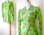 SUMMER SALE/ 30% off Vintage 60s 70s Holly Hobby Novelty Print Lime Green Mini Dress (size xs, small)
