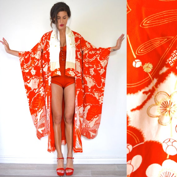 SUMMER SALE/ 30% off Vintage 20s Stunning Blood Orange Floral Print Floor Length Kimono with Ornate Crane Embroidery