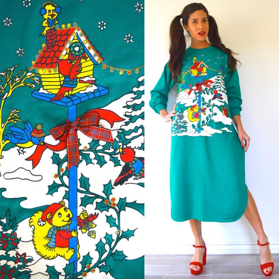 Vintage 80s Graphic Snow Critters Oversized Sweatshirt Dress