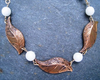 Vintage brass Necklace, leaf station necklace, Gold and white necklace, white agate necklace, short necklace, repurposed jewelry, SweetTaBou