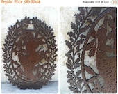 ON SALE Vintage Victorian cut out fretwork wooden plaque Hunting Chasse trophee