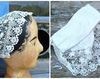 Vintage Antique old French Edwardian 1900s lady's bonnet / Handmade lace & cotton