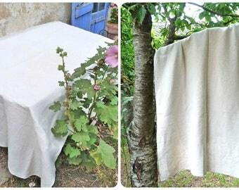 """Vintage Antique French 1900s homespun pure linen cream tablecloth floppy Nappe de Vendange 78.7 """" x 42.5 """""""