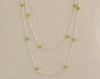 Very Long Peridot Necklace, Green Peridot, August Birthstone, Peridot Jewelry, Double Strand, Gold Filled or Silver
