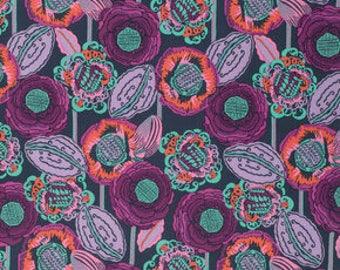 HALF YARD - Amy Butler Fabric, Bright Heart, Coco Bloom, Midnight  - SALE