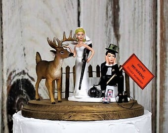 Hunting Wedding Cake Topper, Grooms Hunting Cake Topper, The Hunt is Over, Rustic-Camping-Outdoors Lovers-Bride-Groom-Deer-Ball and Chain