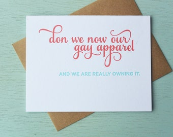 Letterpress Holiday Card - Don We Now Our Gay Apparel - NQH-165