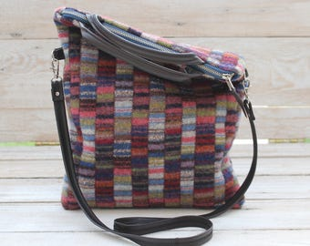 Colorful Patchwork Fold Over Bag in Jewel Tones Wool Cross Body Bag