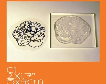 C1 Small Peony Clear Mounted Stamp