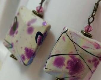 Purple Splashy Earrings