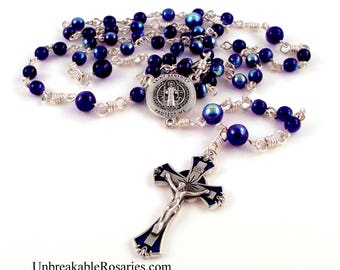 St Benedict Rosary Beads Italian Medals Blue AB Czech Glass Beads by Unbreakable Rosaries