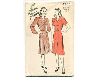 Vintage 40s Dress Pattern Rare! Sewing Pattern Shaped Yoke Front and Back Panels, Country Style Button Front Secretary Dress, Bust 36