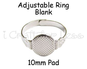 12 Adjustable Rings with Glue Pad for Fabric Covered Button Rings - SEE COUPON