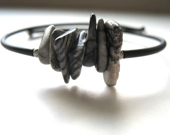 Jasper Bracelet, Zebra Jasper Stone Bounce Back Cuff Bracelet , Handmade artisan gemstone Jewelry, Cuff Bracelet