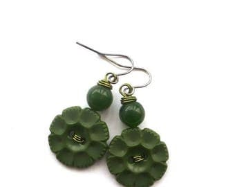 BUTTON JEWELRY SALE Forest Green Flower Vintage Button Earrings with Beads