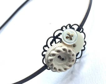 BUTTON JEWELRY SALE Ready to Ship - Cute Headband with White Button Cluster