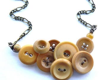 BUTTON JEWELRY SALE Button Necklace in Honey Camel Tan Brown - Neutral Nude Color - Upcycled Jewelry