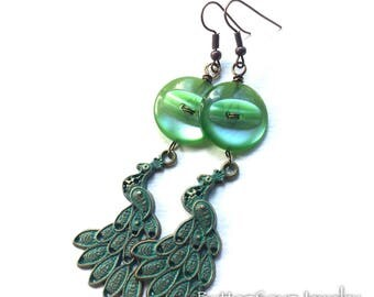 Green Peacock Button Earrings made with repurposed vintage Buttons