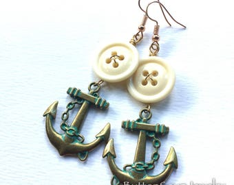 White VIntage Button Dangle Earrings with Brass Anchors - Nautical Jewelry