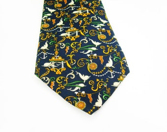 Ferragamo Mens Necktie - 100% Silk - Swimming Dolphins - Navy Background - Orange Green White - Vintage Designer Tie - Sailing Ocean Sealife