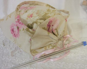 Knitting or Crochet Project bag -  Peony Roses Linen -  Drawstring Top - Craft Caddy  or Tote Bag - Handmade
