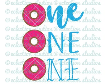 Donut SVG, One SVG, first birthday, donut theme birthday, commercial use SVG, dxf, eps, jpg, png cut cutting file for silhouette or cricut