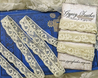 Vintage Lace Yardage, German...Antique scalloped edging lace trim, cotton, crazy quilting, CQ, fabric books, journals, collage-LY171013