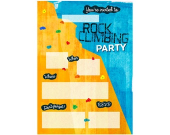 Blank Rock Climbing Party Invitation - Printable Digital File - Foot Holds Version - Write in the party details yourself - DIY