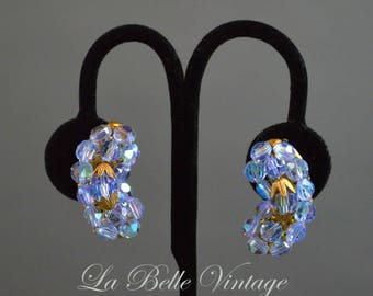 1950s Blue Crystal Earrings Vintage Beaded Glass Climbers