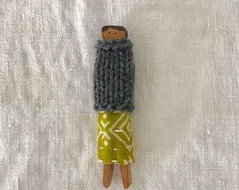 Autumn Holiday Clothes Peg Doll No. 2 Decor Handmade Holiday Gift Kantha Wool
