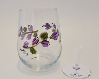Hand Painted Stemless Wine Glass With Purple Floral Vine Pattern