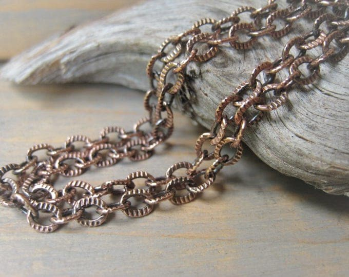 Featured listing image: Ccoper Textured Cable Chain Necklace 4x5mm Patterned Oval Link Chain Item No. J6812