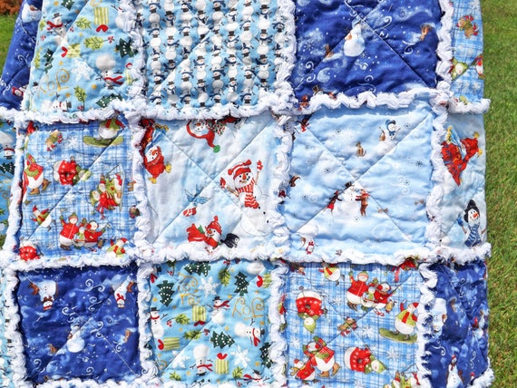 Blue and White Snowman Lap Quilt with Shades of Blue, White, Green, and Red Snowmen Prints, Christmas Decorating