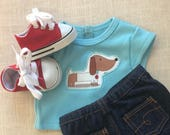 18 inch Boy doll Puppy dog, jeans red sneakers, 18 inch Boys doll clothes, Boys 18 inch American doll clothes Ready to ship Doll puppy shirt