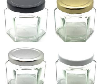 1 pc 4 oz (120 ml) Squad Glass Jar with your color choice of lid: Gold, White, Black, Silver - Jam, Jelly, Honey, Spice, Favor Jars