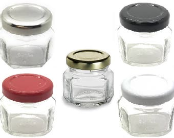 1 pcs 1.5 oz Oval Hexagon Glass Jars with Color Choice of Lid