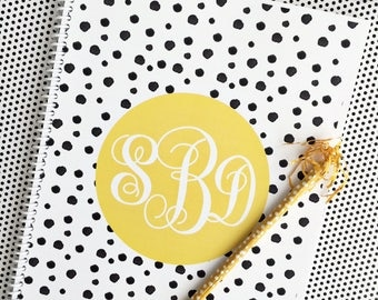 Personalized spiral, personalized notebook, monogrammed spiral, monogrammed notebook, spotty dot spiral, spiral, notebook