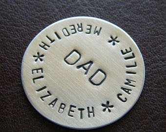 Custom Golf Marker - Personalized Hand Stamped Sterling Silver Keepsake Token - Perfect Gift for Father's Day