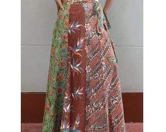 Handmade 8 Pieces floral Thai batik Sarong patchwork long comfortable  wear wrap skirt fit all size (BT09)