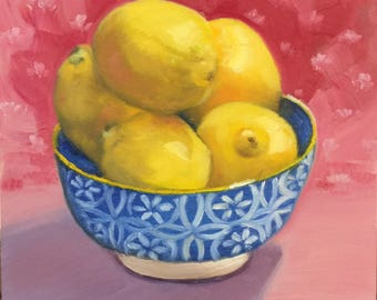 Bowl of Lemons Still Life Painting 6 x 6