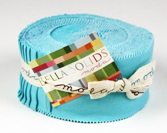 """Moda Bella Solids Duck Egg Blue Jelly Roll 2.5"""" Fabric Quilting Strips"""