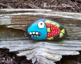 Polka Dots, Original hand painted Beach Rock, Lake Erie, handpainted, earth art, reclaimed, inked, stone, Fish Folk Art