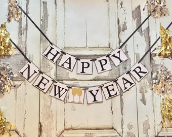 Happy New Year banner, New Years party, New Years Decorations, Decor, New Years garland, New Years Eve banner