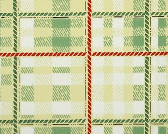 1940s Vintage Wallpaper by the Yard - Plaid Vintage Wallpaper of Yellow Green Red and White