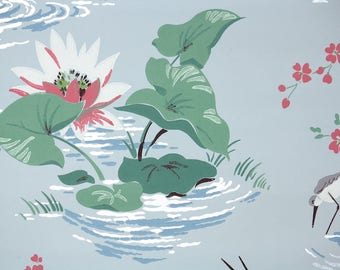 1940s Vintage Wallpaper by the Yard - Pink and White Water Lily with Gray Crane on Blue Bathroom Wallpaper with Birds