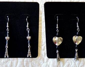 Style Choice - I Love Paris Pierced Dangle Earrings Hearts Eiffel Tower