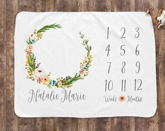 Baby Month Milestone Blanket- Wildflower Wreath - Girl - Personalized Baby Blanket - Track Growth and Age - New Mom Baby Shower Gift
